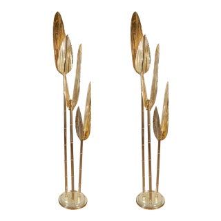 Foliate Form Brass Floor Lamps - a Pair For Sale