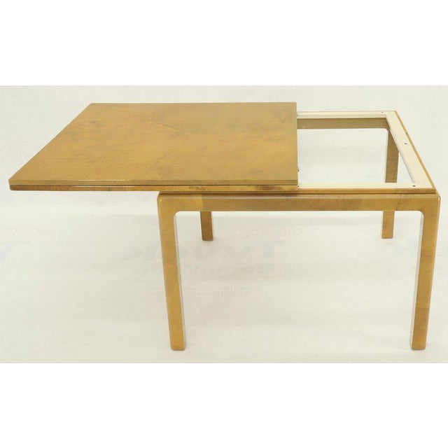 Lacqured Goat Skin Parchment Square Flip Top Dining Table For Sale - Image 11 of 13