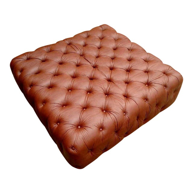 Gambrell Renard Saddle Brown Leather Tufted Ottoman - Image 1 of 3