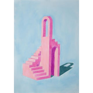 2020 Ryan Rivadeneyra,Pink Building on Blue Watercolor on Paper - Pastel Palette Architecture For Sale