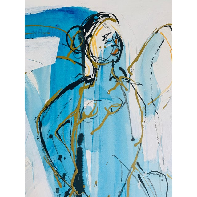 """Abstract Figure Study Ink """"Figure in Blue and Gold"""" Abstract by Anne Darby Parker For Sale - Image 3 of 3"""