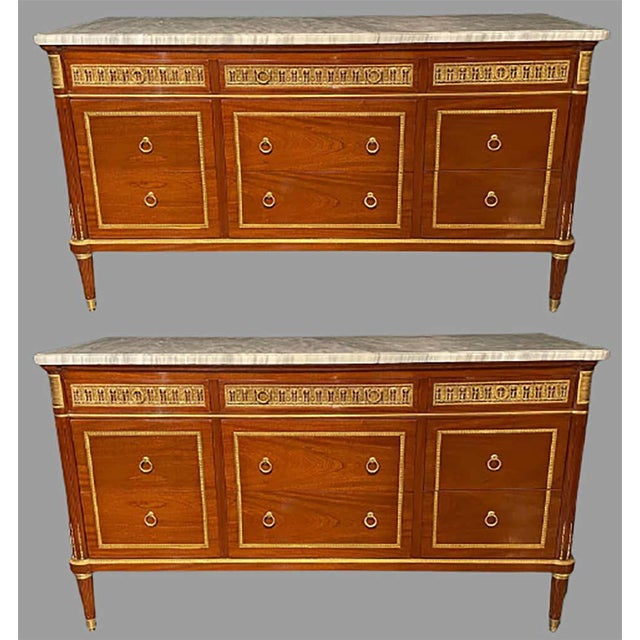 Wood Pair of Monumental French Commodes in the Manner of Maison Jansen For Sale - Image 7 of 13