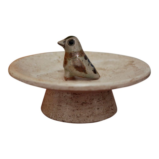 Jorge Wilmot Miniature Pottery Owl on Travertine Pedestal For Sale