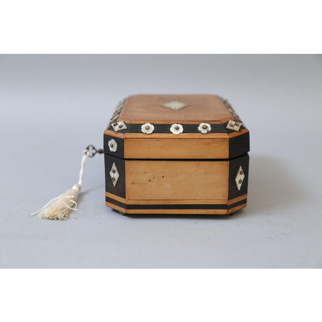 Cotton French Satin Wood & Mother of Pearl Box, Lock & Key For Sale - Image 7 of 8