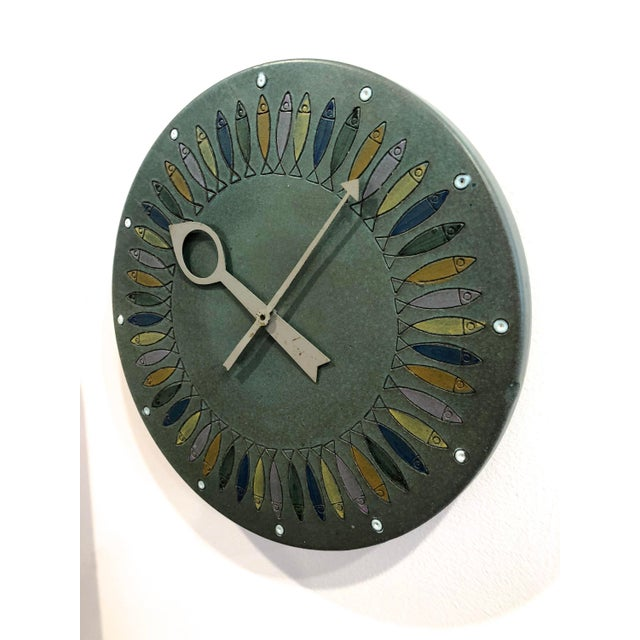 Bitossi Rare Bitossi Fish Meridian Clock, 1960's For Sale - Image 4 of 9