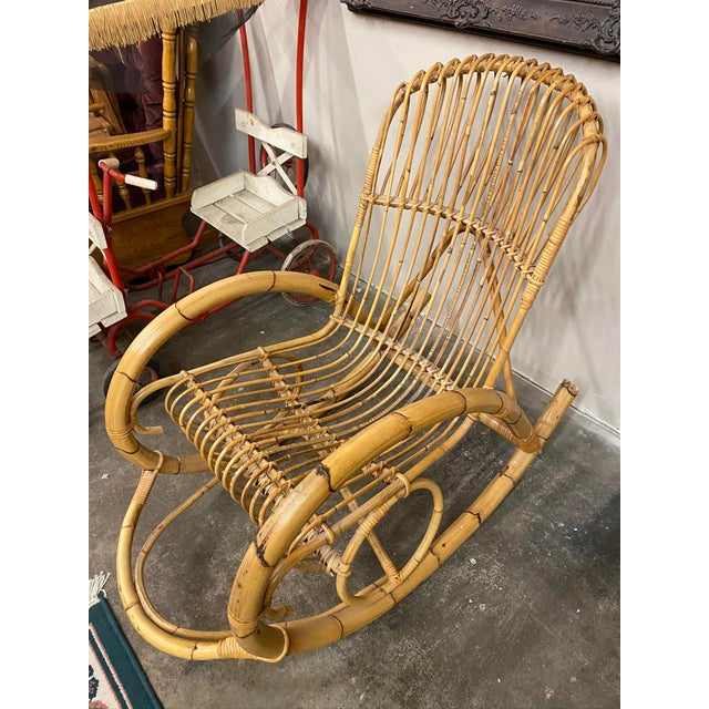 Wood 1960s Franco Albini Rattan Bamboo Rocking Chair For Sale - Image 7 of 11