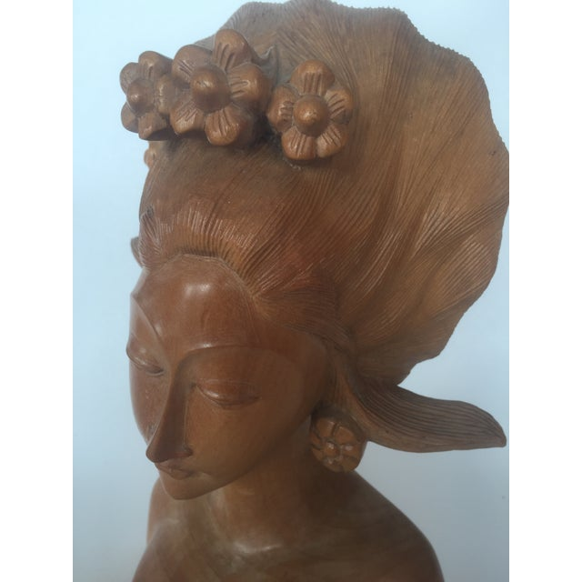 Antique Balinese Hand Carved Satinwood Sculpture of Woman For Sale - Image 4 of 8