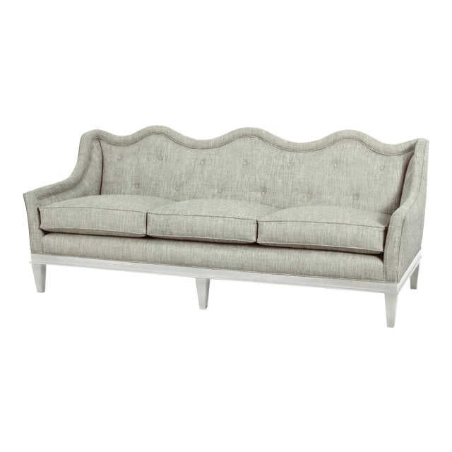 Celerie Kemble Sashay Sofa in Lagoon with White Finish For Sale