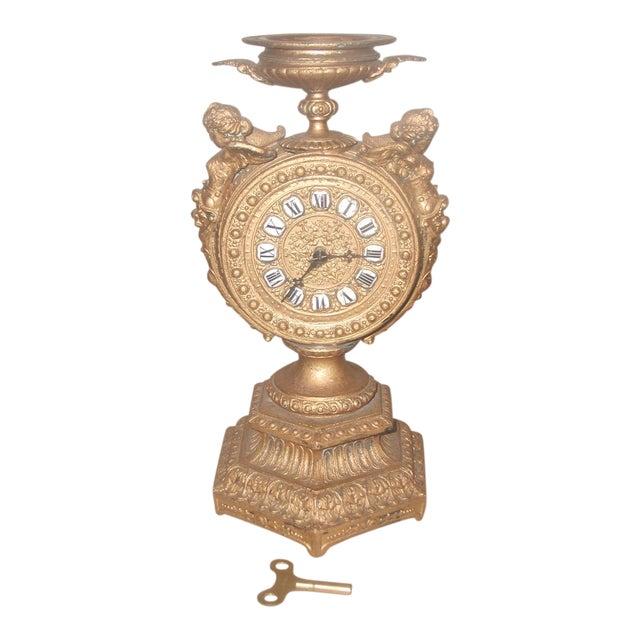 1890-1900 Mayer 8 Day Cherub Gilt Clock For Sale