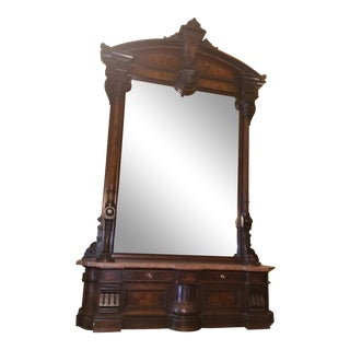 Victorian Hall Mirror With Marble Base For Sale