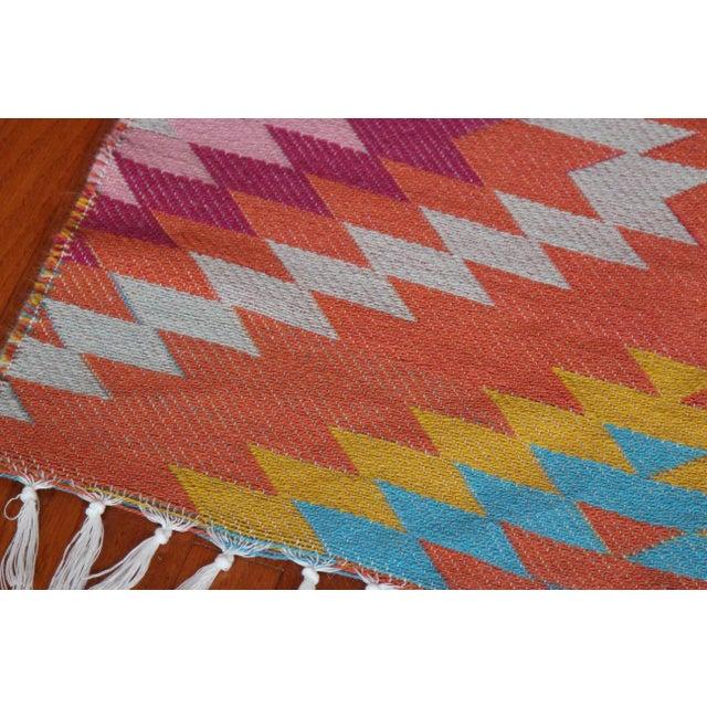 Rainbow Flat Weave Diamond Turkish Wool Kilim Rug - 4' x 6' - Image 8 of 12