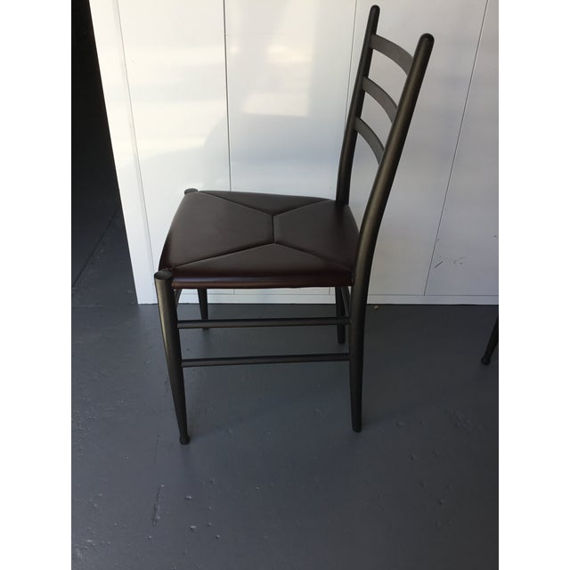 Leather Mid-Century Italian Dining Side Chairs - Set of 4 For Sale - Image 7 of 11