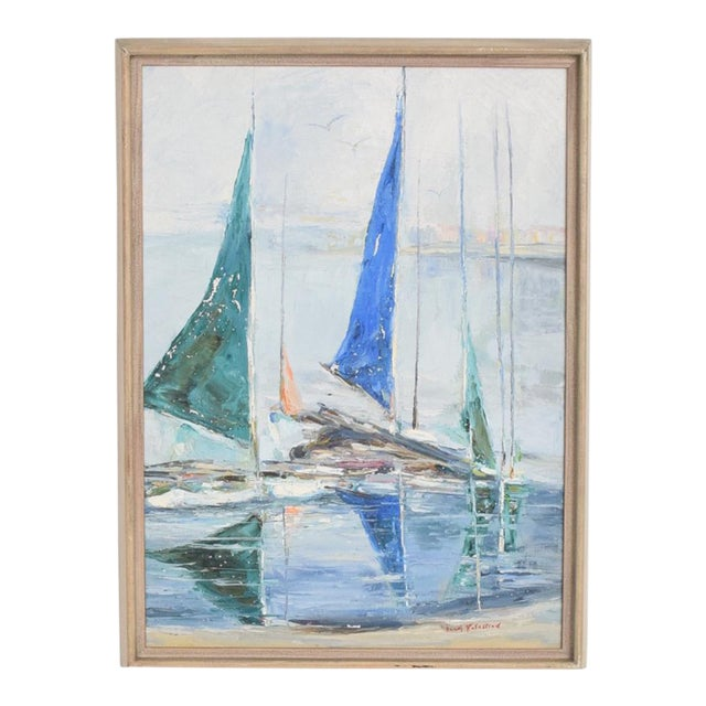 Oil in Canvas Hazel Rakestraw, Sailing Boats California Modern For Sale