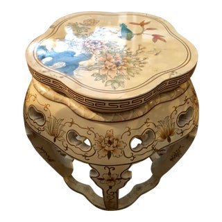 Antique Chinoiserie Wood Stool For Sale