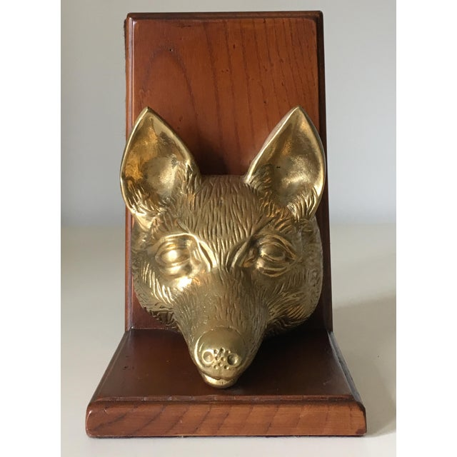 Vintage Fox Head Sculptural Brass & Wood Bookend - Image 4 of 6