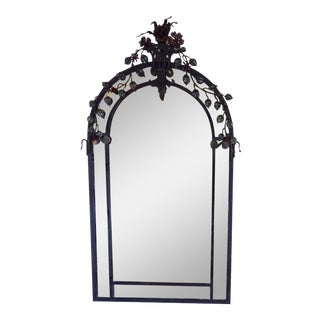 1950s French Art Nouveau Iron Mirror and Table - Set of 2 For Sale