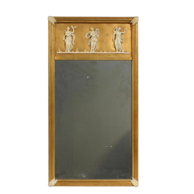 Early 20th Century Giltwood Neoclassical Wall Hanging Mirror For Sale