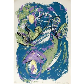 Abstract Angels Teal, Green & Purple Serigraph For Sale