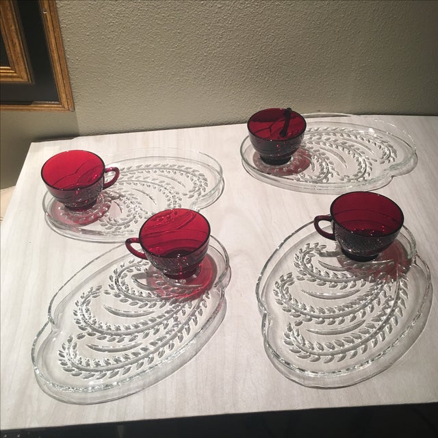 Vintage Serv-A-Snack Anchor Glass - Set of 4 | Chairish