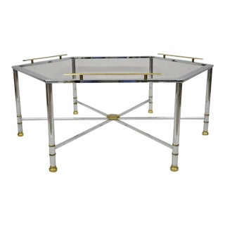 Chrome Brass Maison Jansen Style Hexagon Regency Style Directoire Coffee Table For Sale