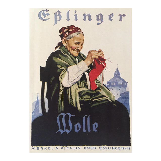 1927 German Art Deco Mini Poster, Eplinger Wool For Sale