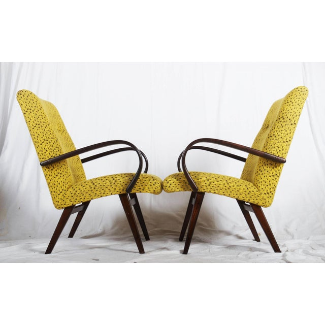 Mid-Century Czech Upholstered Chairs, 1960s - A Pair For Sale - Image 4 of 11