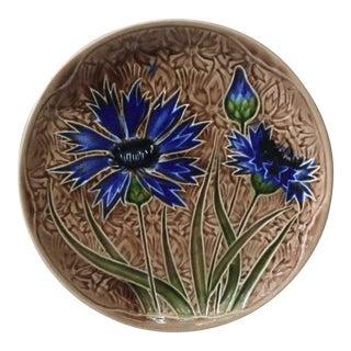 1890 Villeroy Boch Majolica Cornflower Plate For Sale