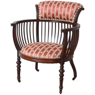 Antique Barrel Back Occasional Chair, Finely Carved With Great Detail For Sale
