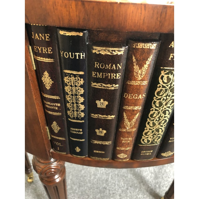 Round Leather Wrapped Side Table Cabinet With Trompe l'Oeil Books For Sale - Image 9 of 13
