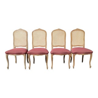 Vintage French Provincial Cane Back Pink Dining Chairs - Set of 4 For Sale
