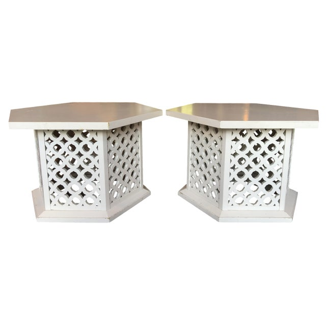 Vintage Hexagon Side Tables - A Pair - Image 1 of 6