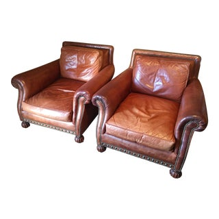 Ralph Lauren Aran Isles Club Chairs - a Pair