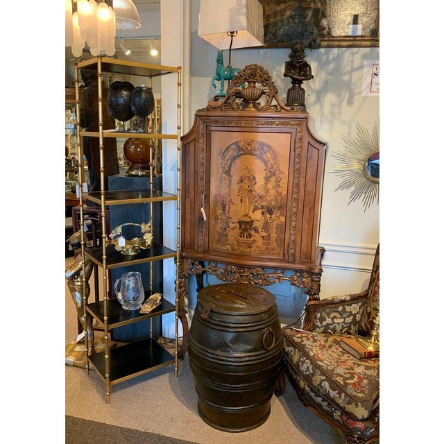 Metal Gilt Metal & Lacquered Faux Bamboo Étagère in the Style of Maison Jansen For Sale - Image 7 of 10