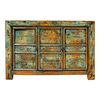 Chinese Distressed Teal Blue Green Sideboard Console Table Cabinet For Sale
