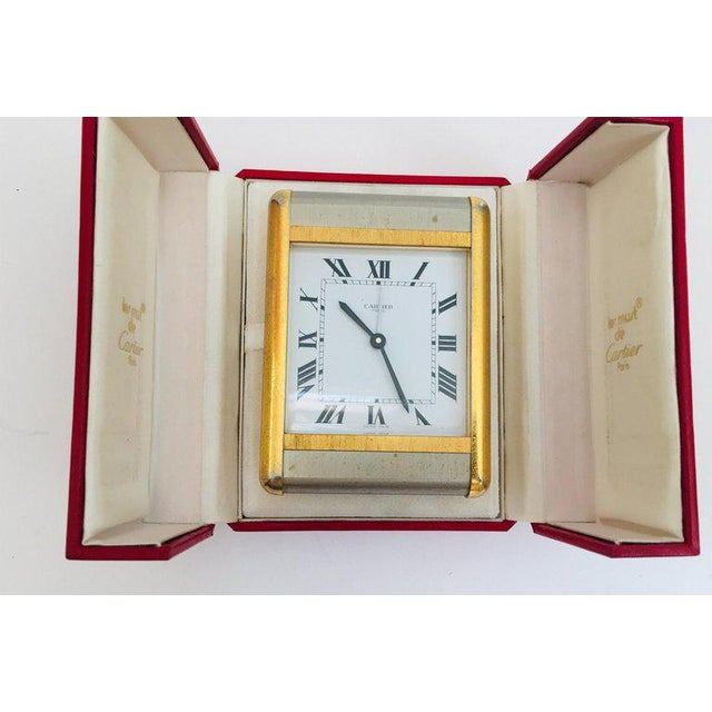 Cartier Two-Tone Gold and Steel Tank Desk Clock For Sale - Image 10 of 13