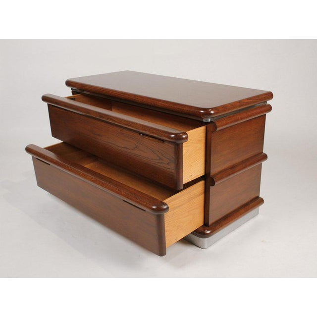 1970s Jay Spectre Modernist Walnut and Brushed Stainless Nightstands For Sale - Image 5 of 10