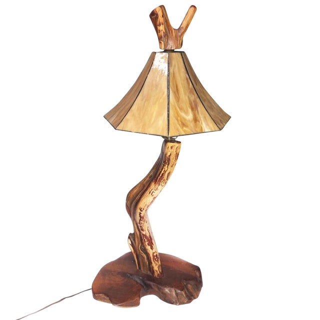 Large Vintage Live Edge Driftwood Table Lamp W Stained Glass Shade