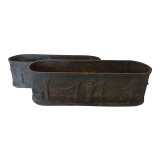 19th C. Iron Oval Planters - a Pair