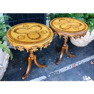 Pair of Signed Maitland Smith Carved Italian Marquetry Inlaid Tripod End Tables Preview
