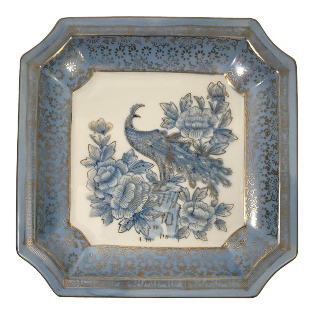 Square Blue Porcelain Chinoiserie Dish For Sale