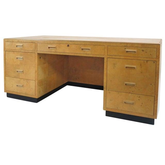 Henredon Scene Two Executive Desk in Burl Wood For Sale