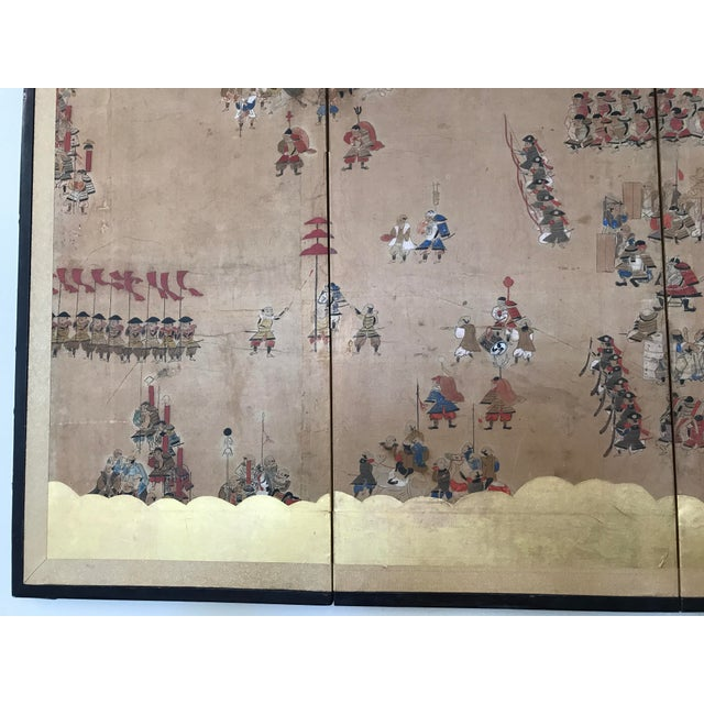 Asian Early 19th Century Japanese 4 Panel Screen For Sale - Image 3 of 8