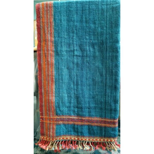 Vankar Indigo and Orange Wool Throw For Sale In New York - Image 6 of 6