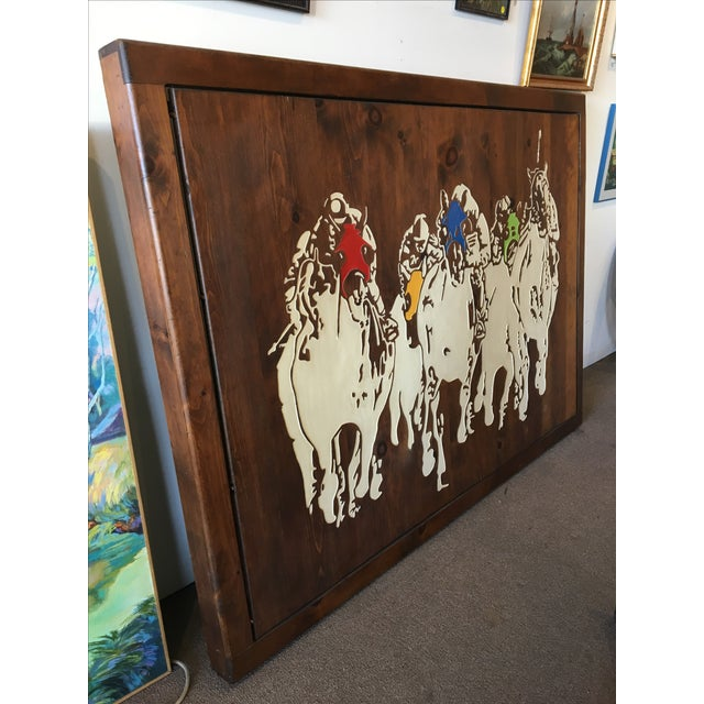 Horse Racing Carved Art by Ken Daddario - Image 4 of 8