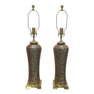 Vintage Ceramic Lamps With Leopard Motif and Brass Hardware - a Pair