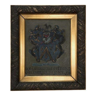 18th Century Framed Family Crest Oil Painting on Canvas For Sale