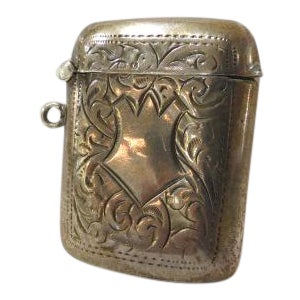 Vintage Antique Sterling Silver Victorian Match Safe For Sale