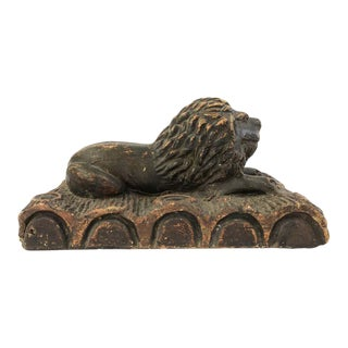 19th Century Folk Art Pottery Sculpture of a Lion For Sale