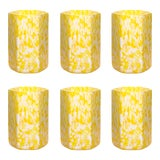 Image of Stories of Italy Macchia su Macchia Hex Tumblers - Ivory & Yellow, Set of 6 For Sale