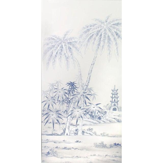 Jardins en Fleur Blue & White Pagoda Garden Triptych Paintings on Silk - Set of 3 For Sale - Image 4 of 5